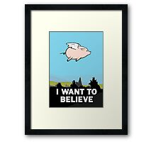 The X-Files: I Want to Believe Poster Flying Pig Spoof Framed Print