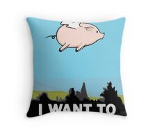 The X-Files: I Want to Believe Poster Flying Pig Spoof Throw Pillow