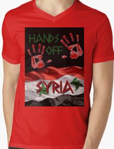 Hands Off Syria Mens V-Neck T-Shirt