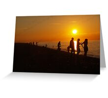 Silhouettes & Sunlight at Cley Beach Greeting Card