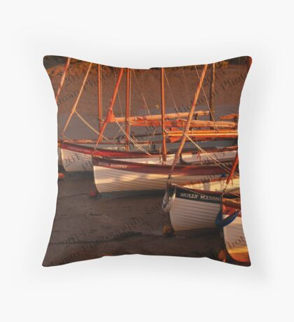 Row Of Boats, Blakeney  Throw Pillow