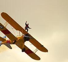 Wing Walker on a Boeing Stearman biplane by Jon Lees