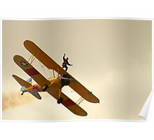 Wing Walker on a Boeing Stearman biplane Poster