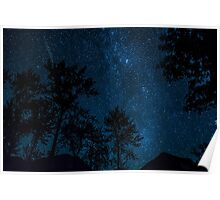 Double Meteorite on a Clear Starry Night  Poster