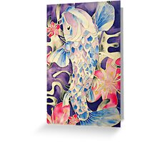Koi Fish and Blossom Flowers Silk Painting Greeting Card