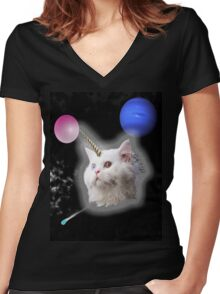 Catspace Women's Fitted V-Neck T-Shirt