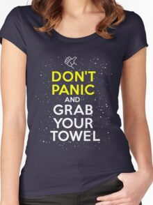 Don't Panic and Grab Your Towel Women's Fitted Scoop T-Shirt