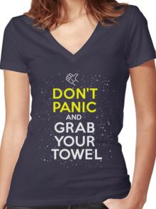 Don't Panic and Grab Your Towel Women's Fitted V-Neck T-Shirt