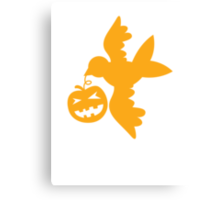 Cute bird flying with a pumpkin Halloween! Canvas Print