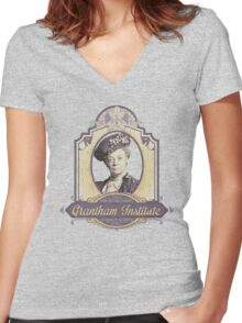 Downton Abbey Inspired - Lady Violet - Grantham Institute - Lady Violet Finishing School - Dowager's Etiquette Teachings Women's Fitted V-Neck T-Shirt