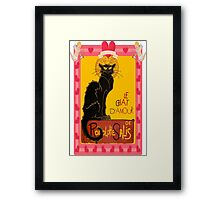 Le Chat D'Amour With Heart And Cherub Border Framed Print