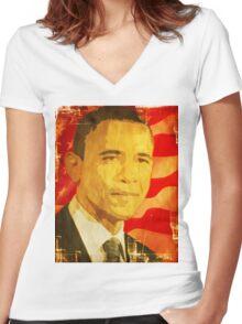 Da Man Women's Fitted V-Neck T-Shirt