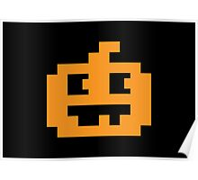8 Bit Pixel Jack O' Lantern Pumpkin Head Poster