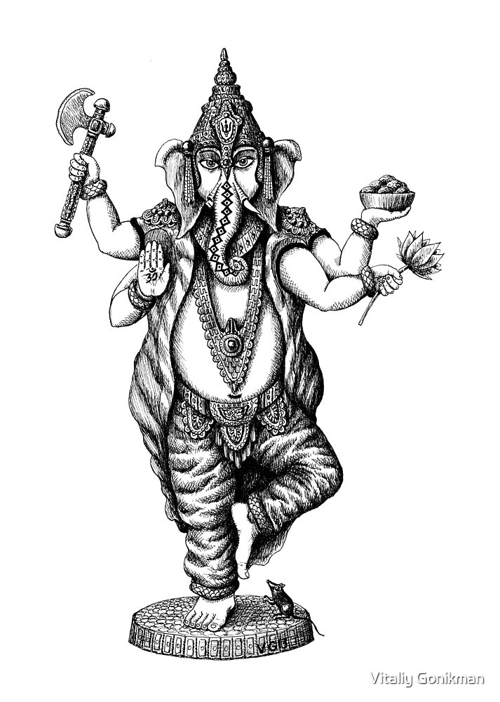 God Ganesha ink pen drawing by Vitaliy Gonikman