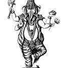 God Ganesha ink pen drawing by Vitaliy Gonikman