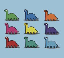 Multicoloured Dinosaurs One Piece - Short Sleeve
