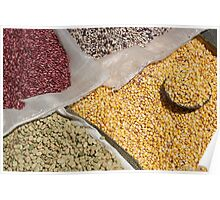Bags of Beans and Corn at the Otavalo Market Poster