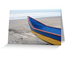 Blue and Yellow Fishing Boat on the Beach Greeting Card