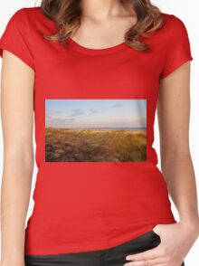 Looking Down On Sunset Beach Women's Fitted Scoop T-Shirt