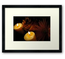 Pastel Pink Flowers With Candles Framed Print