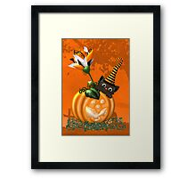 Cheeky Halloween Cat Framed Print