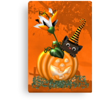 Cheeky Halloween Cat Canvas Print
