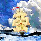 The Golden Clipper in Rough Sea iPad/iPhone/iPod cases by Dennis Melling