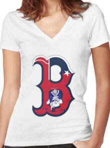 Boston Patriots  Women's Fitted V-Neck T-Shirt