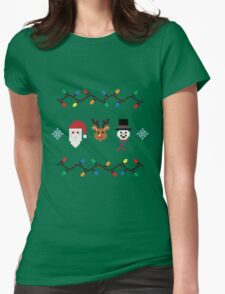 Pixel Christmas Medley Womens Fitted T-Shirt