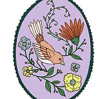 Oval Bird Greeting by MADCreations