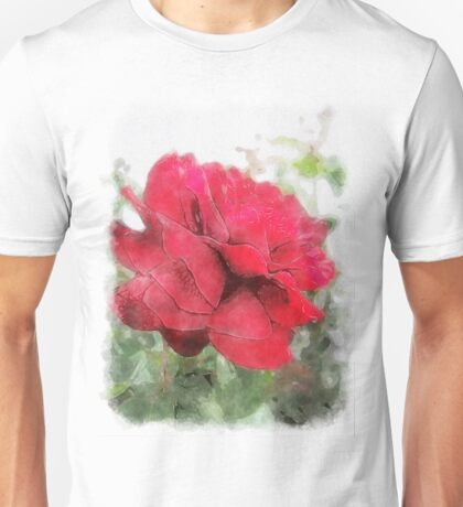 Red Rose Edges Watercolor Unisex T-Shirt