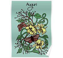 Auguri Butterly Garden Poster