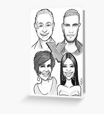Caricature - X-Factor Judges Greeting Card
