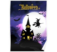 Scary Haunted House Happy Halloween Poster
