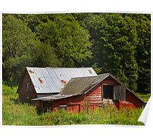 Sinking Red Barn Poster