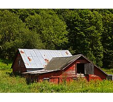 Sinking Red Barn Photographic Print