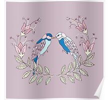 Bird Lovers on Purple Background Poster