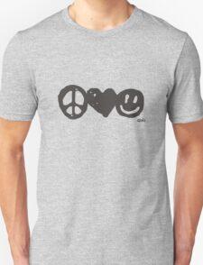 Peace, Love, Happy Unisex T-Shirt
