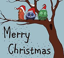 Merry Christmas with Owls in a Tree by MADCreations