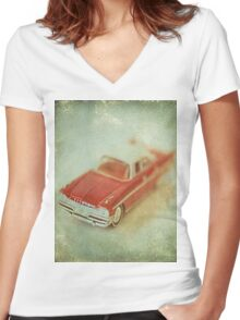 Vintage Cherry Red Chrysler De Soto Women's Fitted V-Neck T-Shirt