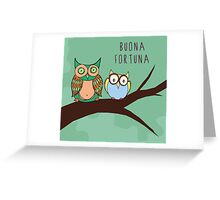 Buona Fortuna with Owls in a tree Greeting Card