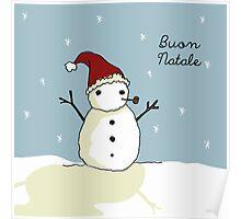 Buon Natale Snowman Poster