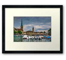 Fraumunster Cathedral and St.Peter Church in Zurich Framed Print