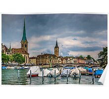 Fraumunster Cathedral and St.Peter Church in Zurich Poster