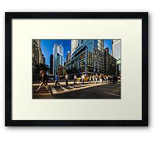 Chicago street in the setting sun Framed Print