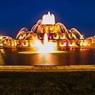 Chicago's Buckingham Fountain at dusk in a 3:1 aspect ratio by Sven Brogren