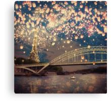 Love Wish Lanterns over Paris Canvas Print
