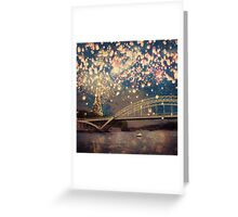 Love Wish Lanterns over Paris Greeting Card