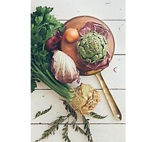 Assorted Vegetables With Copper Pan Photographic Print