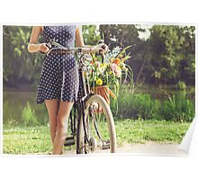 Woman With Old-Fashioned Bicycle and Flowers Poster